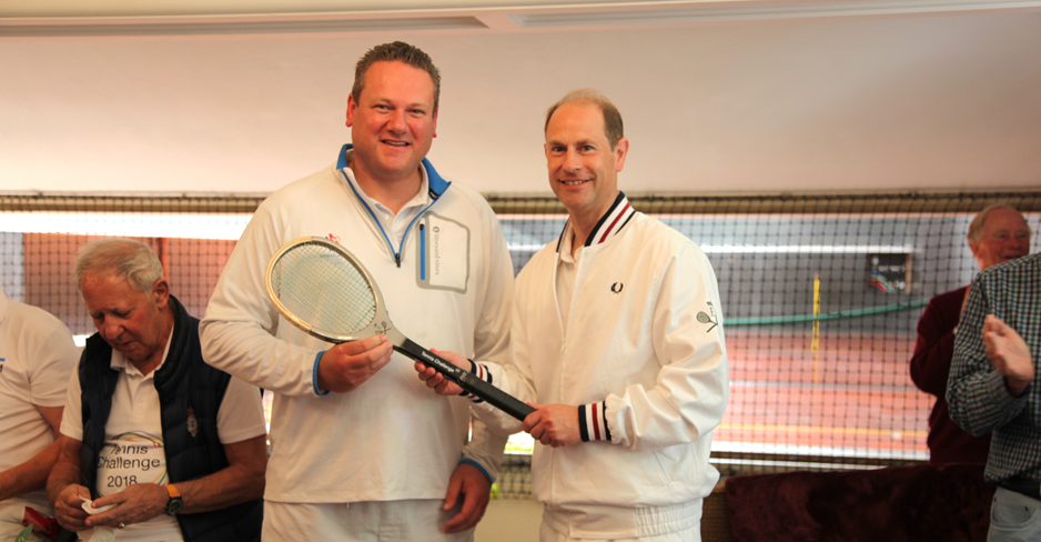 Jon Speirs and HRH Prince Edward winning real tennis.