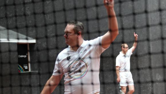 Jon Speirs playing real tennis.
