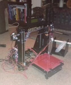 A completed GEEETech i3 3D printer.