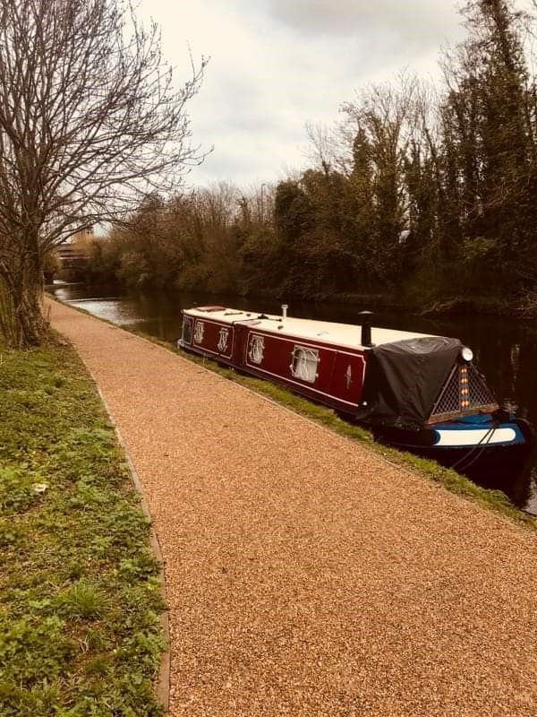 Ryan Short's narrowboat on the canal.