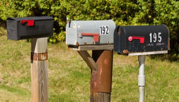 Three letterboxes.